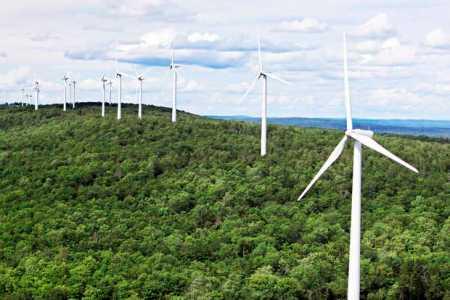 Wind turbines line a ridege on Stetson Mountain in Stetson.
