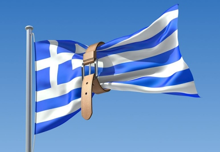 Greek Flag and debt